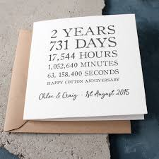 2nd wedding anniversary personalised time card cotton 2nd anniversary gettingpersonal co uk