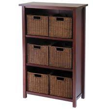 Bookcase With Baskets Rattan Bookcase Ebay