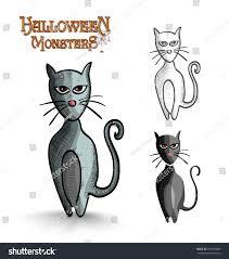halloween monsters halloween monsters spooky cartoon black cats stock illustration