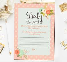 floral baby shower games baby bucket list game baby shower
