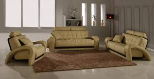 Beige Leather Living Room Set Leather Modern Living Room Set 4pc Bentley Beige Bn B201