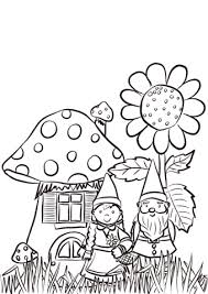 garden gnomes family coloring page free printable coloring pages