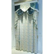 Blue Valance Curtains Beige Floral Embroidery Jacquard Luxury Cotton Valance Curtains