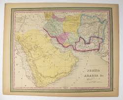 middle east map gulf of oman antique map saudi arabia iran map 1852 mitchell map