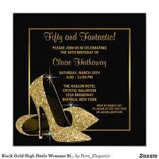 Black Card Invitation Black Gold High Heels Womans Birthday Party Card Gold High Heels