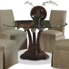 Pedestals For Glass Tables Round Glass Dining Table With Palm Tree Pedestal Base By Cmi