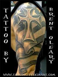 irish n american flag with celtic cross tattoo on shoulder