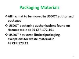 49 cfr hazardous materials table hhw and vsqg annual update dot hazardous materials compliance ppt
