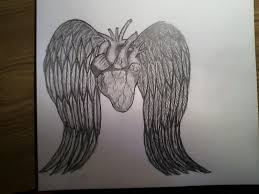 heart with angel wings pencil drawing by mychalc on deviantart