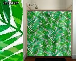 Green Bathroom Window Curtains Tropical Jungle Green Palm Banana Leaf Shower Curtain Bathroom