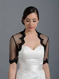 black elbow length bridal dot lace wedding bolero jacket lace 081