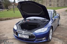 tesla inside hood our first drive in a tesla model s 85 ev performance