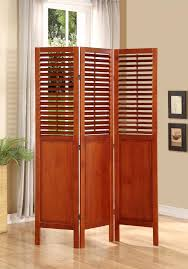 room divider 3 panel solid wood with shutters on top half walnut
