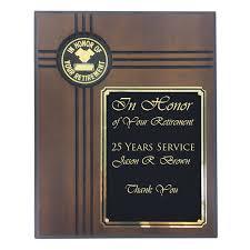 retirement plaque x 10 walnut veneer in honor of your retirement plaque