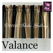 Black Curtains With Valance Home Decor Black Tan Cream Stripe Short Valance Curtain By Idaho