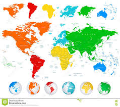 Free Vector World Map by Detailed Vector World Map With Colorful Continents Stock Vector