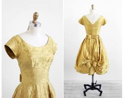 vintage 1960s dress 1950s dress gold satin damask bow and