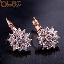 flower stud earrings chagne gold flower stud earrings with zircon travta