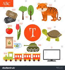 letter t cartoon alphabet children tiger stock vector 451740409