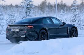 porsche snow porsche u0027s all electric sedan hits the snow for winter testing