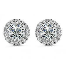 cubic zirconia stud earrings 1 50 ct cut cubic zirconia stud earrings in back
