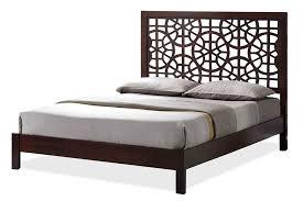 wooden base bed baxton studio sakuro circle pattern modern and contemporary