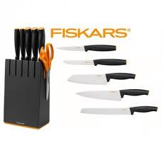 fiskars kitchen knives block black with 5 knives fiskars functional form 1014190