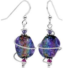 purple drop earrings candy handcrafted 925 silver purple dichroic drop