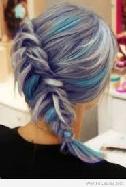 highlights for grey hair pictures grey hair with blue highlights