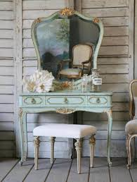 Makeup Vanity With Lights Bedroom Vintage Home Furniture Of Aqua Painted Small Vanity For Bedroom Designed With Mirror And White Padded Stool Combine With Rustic Cream Wooden Wall