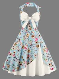 Apron Prints Halter Vintage Floral Print Pin Up Dress Off White 2xl Special