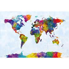 Up Map Watercolor World Map Poster Michael Tompsett Poster Großformat