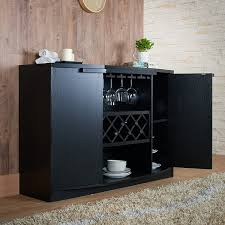Dining Room Cabinet Amazon Com Iohomes Annadel Wine Cabinet Buffet Black Kitchen