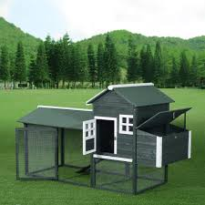 aosom pawhut wooden backyard poultry hen house chicken coop green