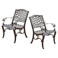 Patio Furniture Sarasota Sarasota Set Of 2 Cast Aluminum Patio Chair Hammered Bronze