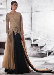 shop gowns online india black u0026 beige beautiful party gown