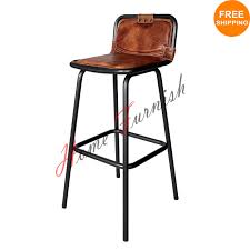 Industrial Counter Stools Industrial Bar Stool Leather Seat With Back Brown Leather Stool