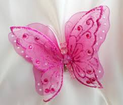 pink chair sashes clip on large butterfly 7 18cm weddings chair sash purple pink
