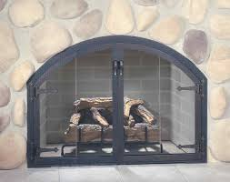 modern style arched glass fireplace doors with stoll fireplace