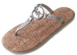 michael kors mk charm jelly logo flip flop sandals 8 m silver