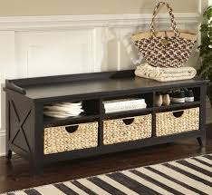 solid wood storage bench with baskets