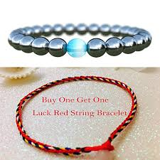 string bracelet with beads images Cat eye jewels natural magnetic hemitate black matte agate onyx jpg