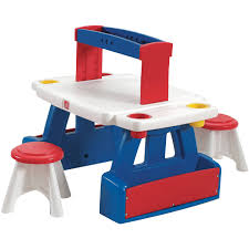 Kids Table With Storage by Step2 Creative Projects Table Includes Two Stools Walmart Com