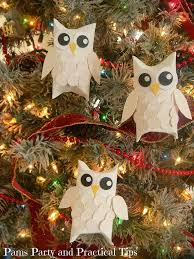 snow owl ornaments yellow paper circle punch and