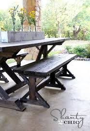 Building Plans For Small Picnic Table by Best 25 Table Bench Ideas On Pinterest Farmhouse Outdoor