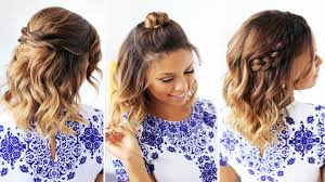 easy party hairstyles for medium length hair 3 easy hairstyles for short hair youtube