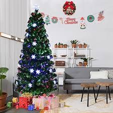 Fibre Optic Slim Christmas Trees - goplus 6ft pre lit fiber optic artificial christmas tree with mult