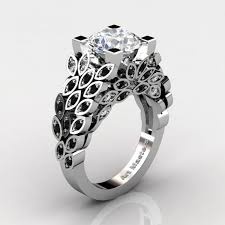 black cubic zirconia engagement rings masters nature inspired 14k white gold 3 0 ct cubic zirconia
