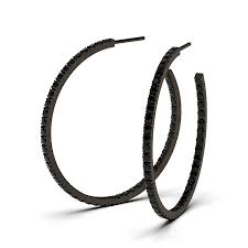 black diamond hoop earrings black diamond hoop earrings by bez ambar
