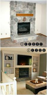 built in bookshelves flanking fireplace cabinets beside makeover